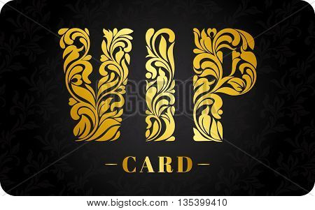 Template Design Vip Card. Inscription Vip Of Floral Decorative Pattern.