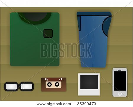 a set of clothes and things for a teenager
