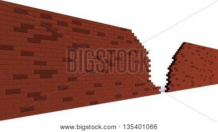 hole in a red brick wall breaking. 3d clip art illustration
