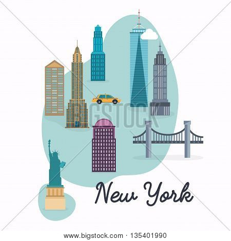 New York City. Travel Map And Vector Landscape Of Buildings And Famous Landmarks. Vector Illustratio