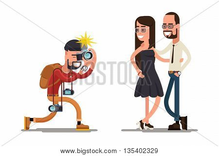 Photographer takes picture of young couple. Photographer camera, photographer people, photographer photography. Vector illustration
