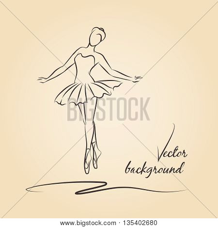 Sketched vector ballerina. Performance girl ballerina, ballet and ballerina drawing, beautiful dancer ballerina illustration
