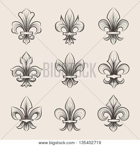 Engraving fleur de lis icons set. Antique decoration fleur de lis, medieval heraldic fleur de lis, french fleur de lis. Vector illustration