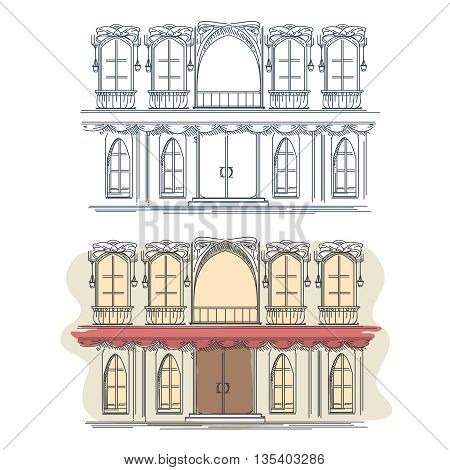 Front of the house in french retro style. Architecture house front building facade front, french house front, street house front. Vector illustration