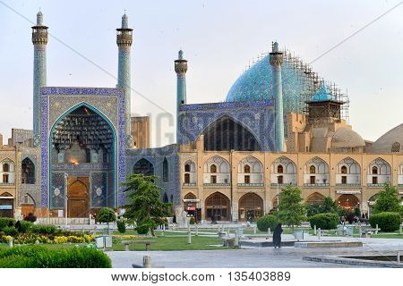 ISFAHAN - APRIL 18: Jameh Mosque and Bazaar of Isfahan, Iran on April 18, 2015. This is one of the oldest mosques still standing in Iran. This mosque is a UNESCO World Heritage Site.