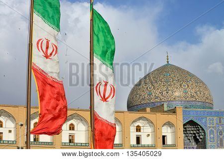 ISFAHAN - APRIL 18: Sheikh Lotfollah Mosque in Isfahan, Iran on April 18, 2015. Construction of the mosque started in 1603 and was finished in 1619.