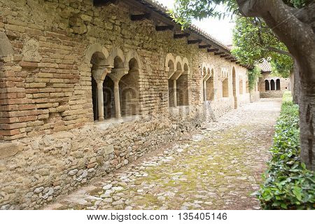 cloister in the Abbey of San Giovanni in Venere in Fossacesia (Italy)