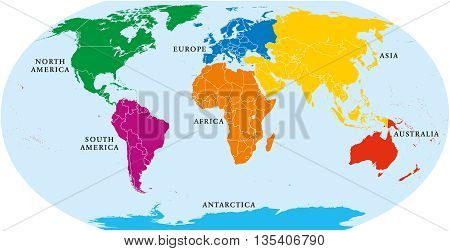 Seven continents vector photo free trial bigstock seven continents world map asia africa north and south america antarctica gumiabroncs Image collections