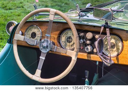 GROSSE POINTE SHORES MI/USA - JUNE 19 2016: A 1952 Morgan dashboard, at the EyesOn Design car show, held at the Edsel and Eleanor Ford House, near Detroit, Michigan.