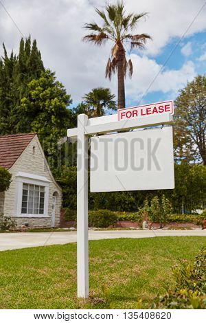 Blank for lease sign on real estate in California, USA