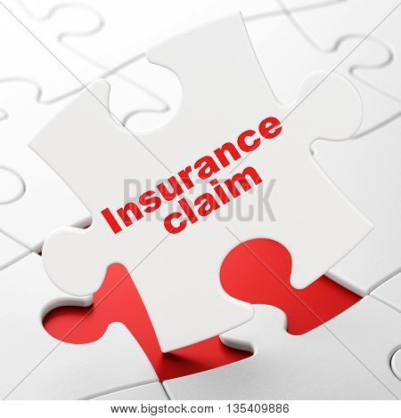 Insurance concept: Insurance Claim on White puzzle pieces background, 3D rendering
