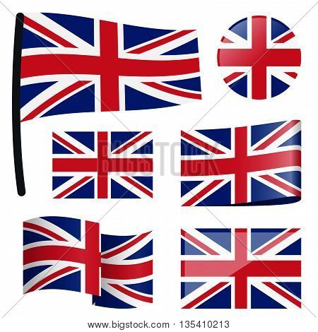 collection of different swung flags of country Great Britain poster