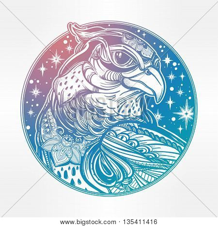 Detailed hand drawn bird of prey head. Head of eagle, falcon or hawk in the sky. Isolated Vector illustration. Tattoo art, spirituality, boho, magic symbol. Ethnic, mystic tribal element for your use.