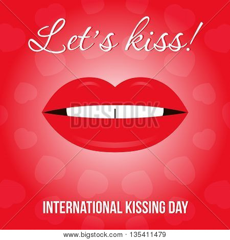 International kissing day vector illustration with glamorous sensual red lips and hearts on red background.