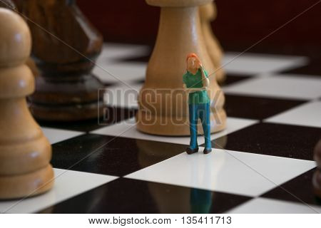 Little Person Female on a Chess Board