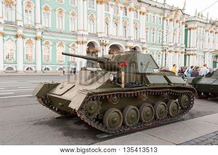 RUSSIA SAINT-PETERSBURG JUNE 21 2016: Soviet tanks of the Second World War on Palace Square in St. Petersburg. T-34 tank.