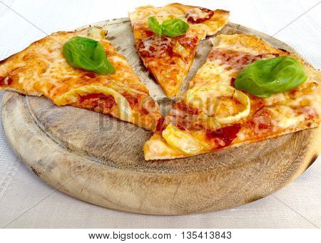 Pizza on wood, italian clasic food with ingredients