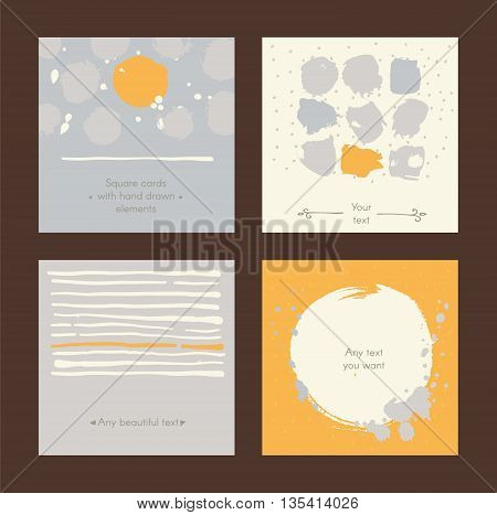 Vector simple square handdrawn cards with circles stripes and various design. Set of templates with text holders splashes imperfections. Yellow and grey colors on dark background good for print.