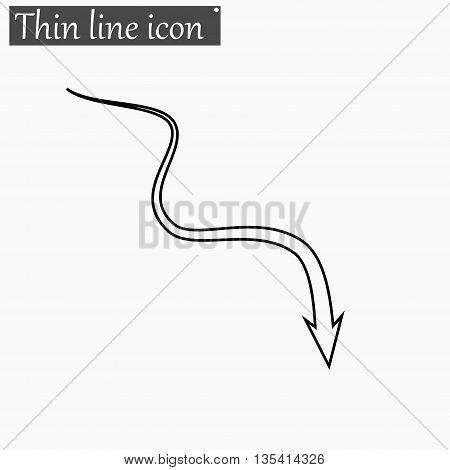 Down arrow icon Vector Style Black thin line