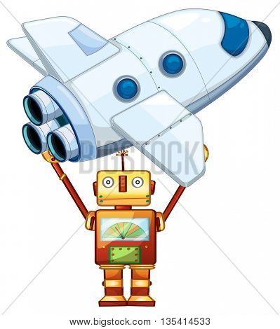 Robot lifting up spaceship illustration