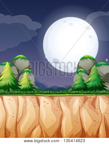 Nature scene with fullmoon and cliff illustration