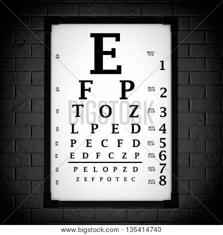 Snellen Eye Chart Test Box in front of brick wall. 3d Rendering