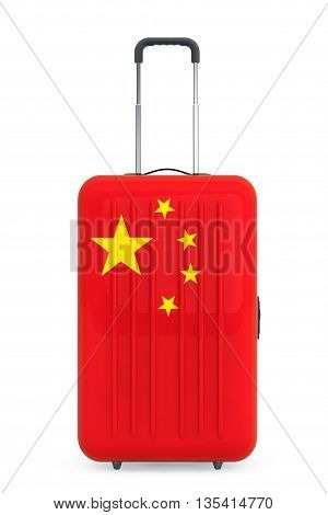 Travel to China Concep. Suitcase with China flag on a white background. 3d Rendering
