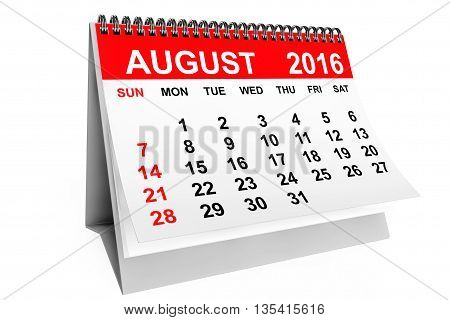 2016 year calendar. August calendar on a white background. 3d rendering