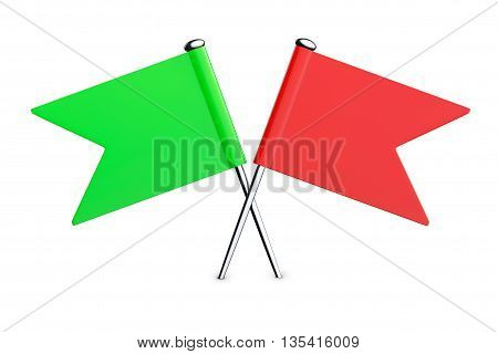 Red and Green Flag Pins on a white background. 3d Rendering