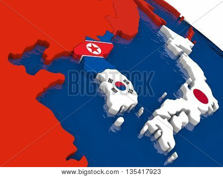 South Korean And North Korea On 3D Map With Flags