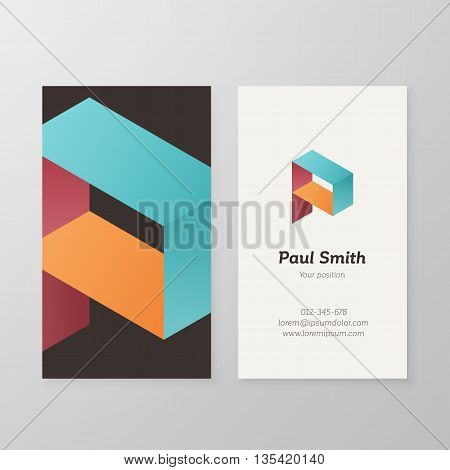 Business card with isometric letter P template. Vector business card editable design.