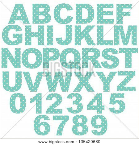 Vector - Pastel Polka Dot Alphabet jo blue background. Original letter design for scrapbooks albums crafts and back to school projects. EPS 10 compatible in groups for easy editing.
