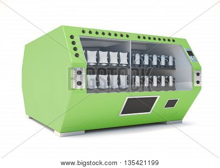 Green vending machine isolated on white background. 3d render image.