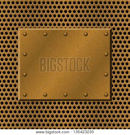 Rusty perforated Metal Background with plate and rivets. Metallic grunge texture. Brass copper latticed template. Abstract techno vector illustration.
