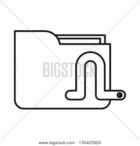 Computer worm icon in outline style isolated on white background