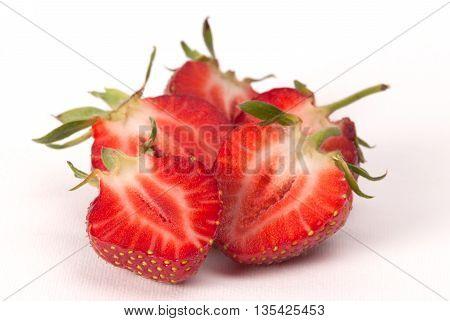Half Of Strawberry Isolated On White Background