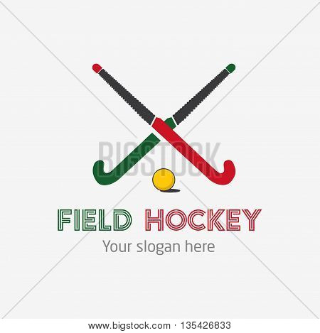 Field hockey team logo. Vector sport club badge with two hockey sticks and ball