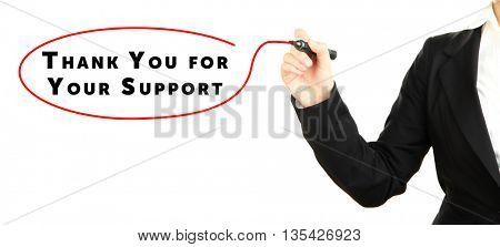 Human hand writing text Thank You for Your Support at transparent whiteboard