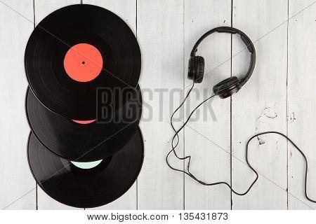 Vintage Record Lp And Headphones