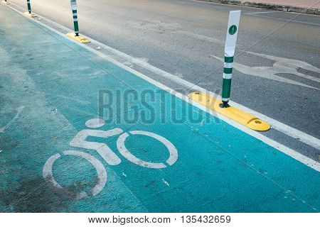 The Bicycle Lane. Bicycle Sign, Sign Indicating A Dedicated Bicycle Lane. Bicycle Lane In Bangkok, T