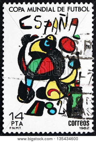 SPAIN - CIRCA 1982: a stamp printed in the Spain shows Poster by Joan Miro Espana '82 World Cup Soccer circa 1982