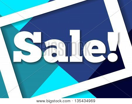 Vivid blue modern sale banner. Colorful vector illustration