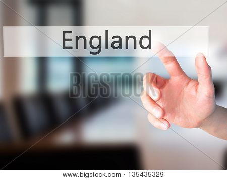 England - Hand Pressing A Button On Blurred Background Concept On Visual Screen.