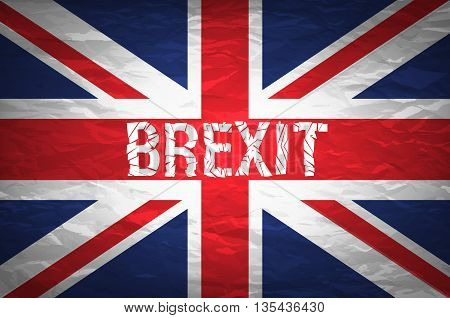 Brexit Cracks Text Isolated. United Kingdom Exit From Europe Relative Image. Brexit Named Politic Pr