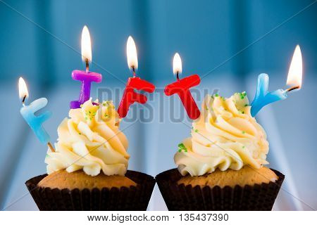 Cupcake With A Candles For 50 - Fiftieth Birthday
