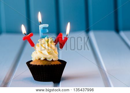 Cupcake With A Candles For 10 - Tenth Birthday