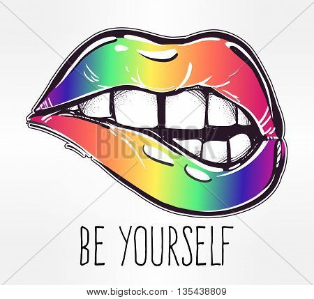 Sexy fatal biting lips in gay pride colors. Isolated vector illustration. Gay vector flag or LGBT vector sign. Gay culture symbol.