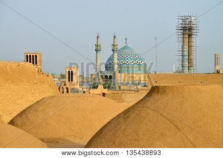 Panorama of Yazd. Yazd is the capital of Yazd Province Iran and a centre of Zoroastrian culture.