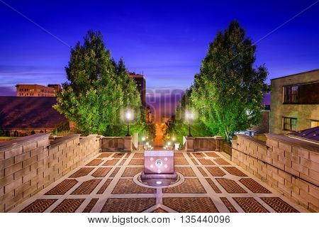 LYNCHBURG, VIRGINIA - JUNE 19, 2016: The Purple Heart Memorial at Monument Terrace. The terrace commemorates Lynchburg citizens who fought and died in various wars and conflicts.