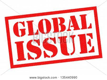 GLOBAL ISSUE red rubber Stamp over a white background.